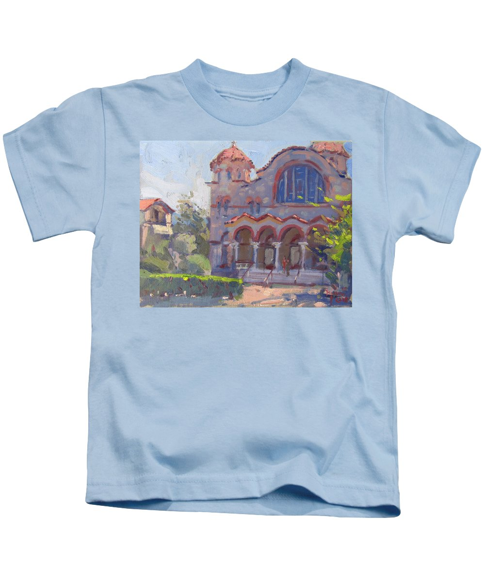 Church Kids T-Shirt featuring the painting Church At Nea Erythraia Athens by Ylli Haruni