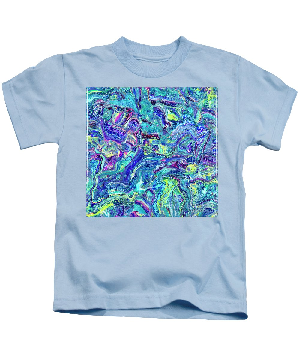 Poured Acrylics Kids T-Shirt featuring the painting Confetti Dimension by Lucy Arnold