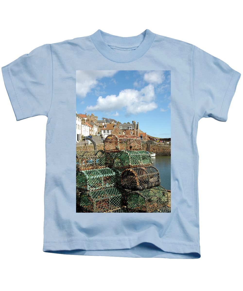 Crail Harbour Kids T-Shirt featuring the photograph Crail Harbour And Lobster Pots by Victor Lord Denovan
