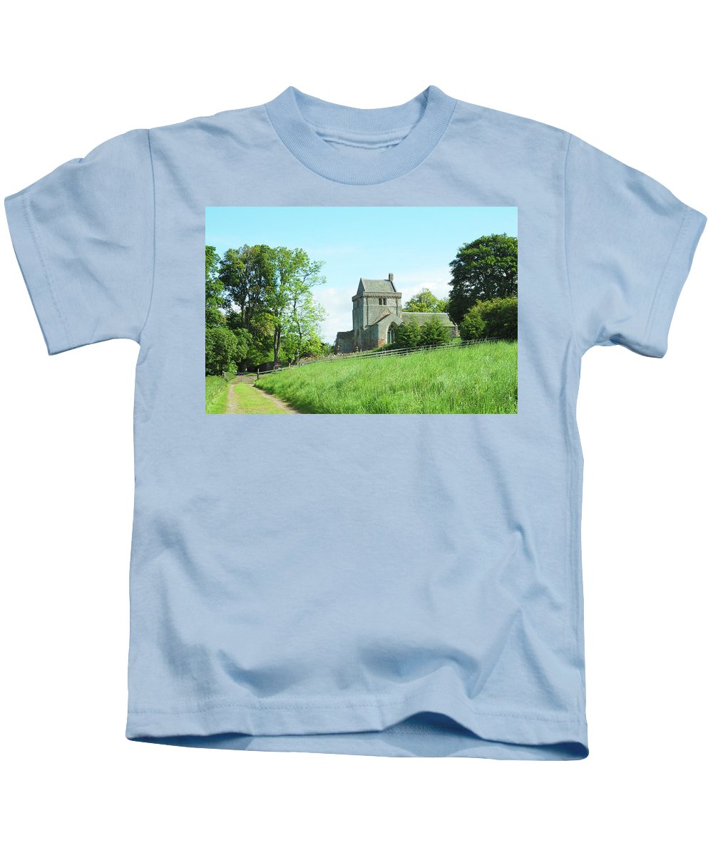 Tower Kids T-Shirt featuring the photograph Crighton Church And Track by Victor Lord Denovan