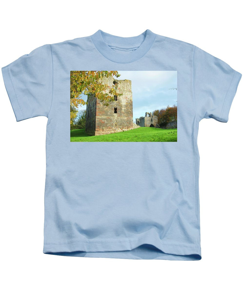 Etal Kids T-Shirt featuring the photograph Etal Castle Tower And Gatehouse by Victor Lord Denovan