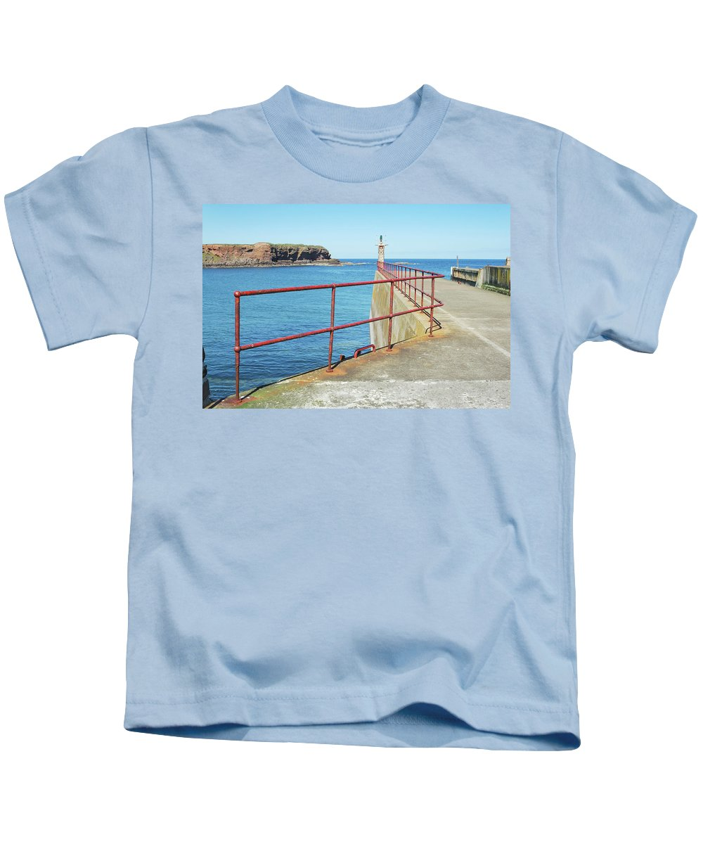 Eyemouth Kids T-Shirt featuring the photograph Eyemouth Harbour Pier Entrance by Victor Lord Denovan