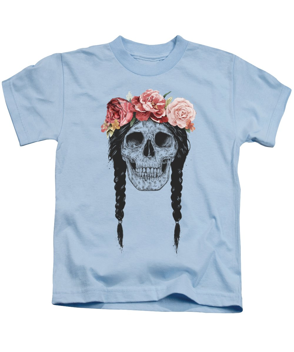 Skull Kids T-Shirt featuring the drawing Festival skull by Balazs Solti