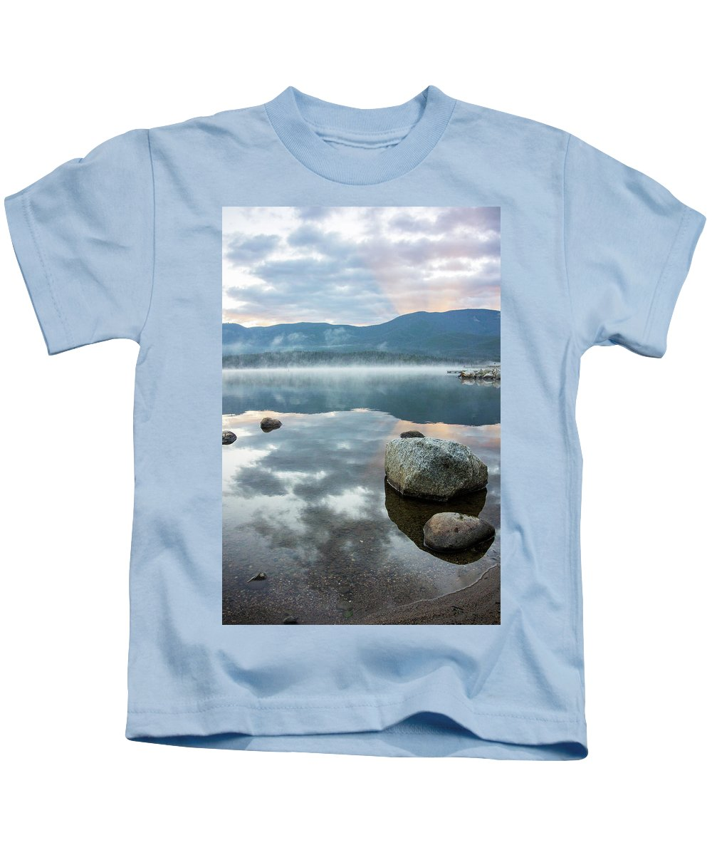 Grand Lake Area Kids T-Shirt featuring the photograph First Light Reflection by Jason Bohl