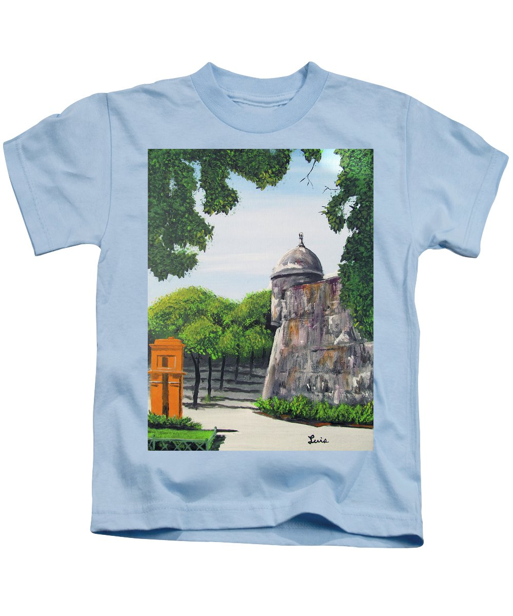 Garita Kids T-Shirt featuring the painting Garita Del Morro by Luis F Rodriguez