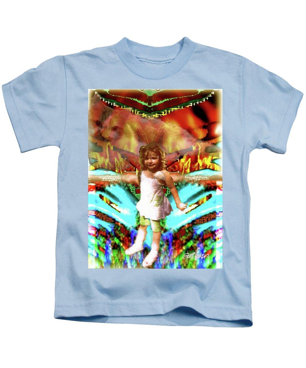 Gracie In Wonderland Kids T-Shirt featuring the digital art Gracie in Wonderland by Seth Weaver
