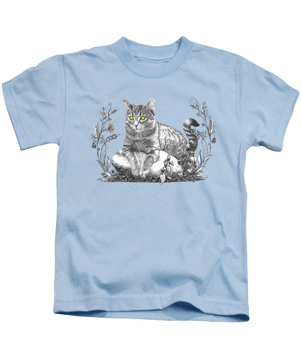 Cat Kids T-Shirt featuring the drawing House Cat by Murphy Elliott
