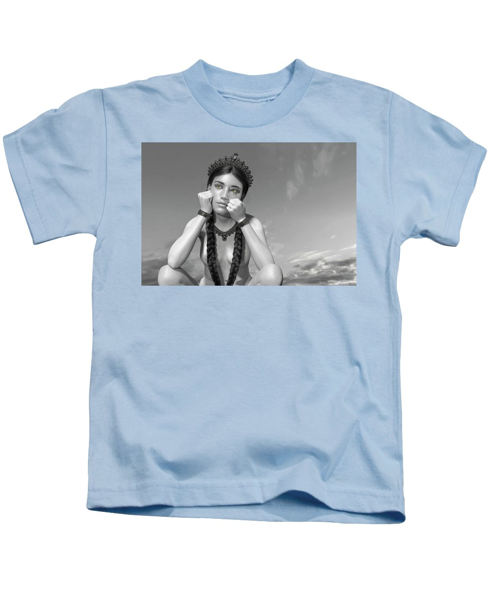 Girl Kids T-Shirt featuring the digital art Untitled 02192019b by Betsy Knapp