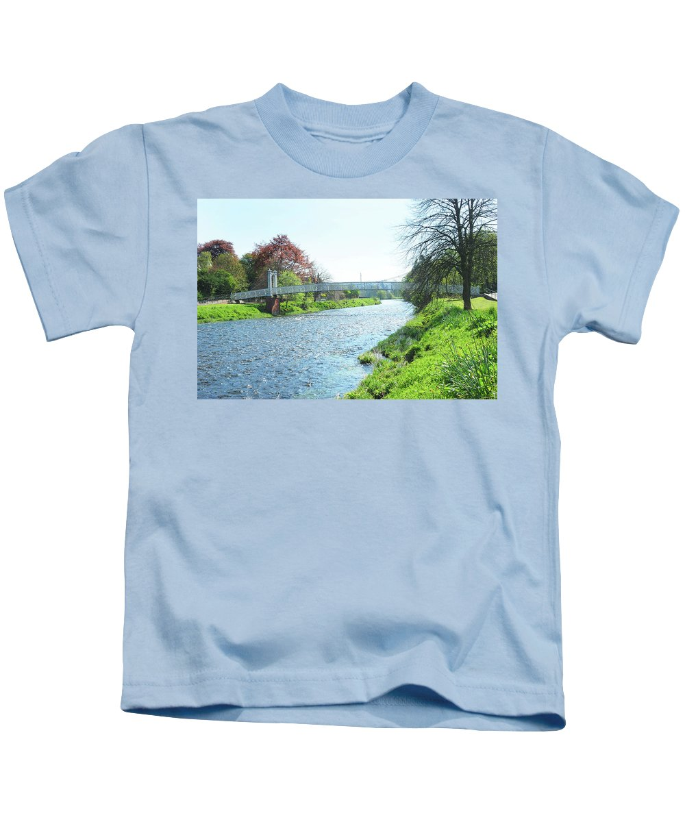 Bridge Kids T-Shirt featuring the photograph pedestrian bridge over river Tweed at Peebles by Victor Lord Denovan