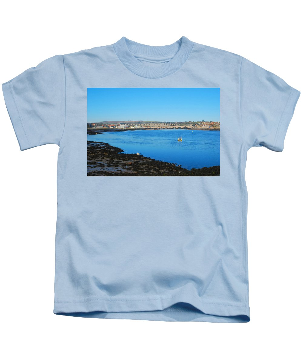 Tweed Kids T-Shirt featuring the photograph river Tweed estuary at Berwick-upon-Tweed bridges and river by Victor Lord Denovan