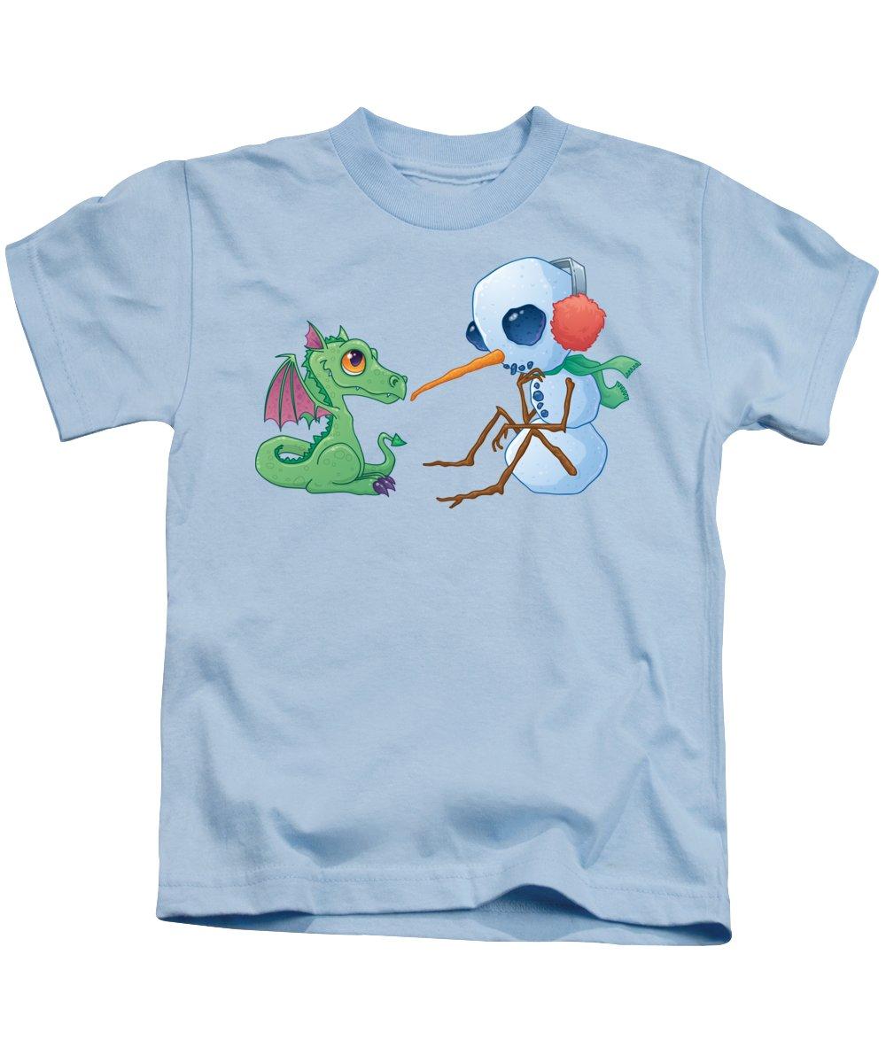 Cartoon Kids T-Shirt featuring the digital art Snowman and Dragon by John Schwegel