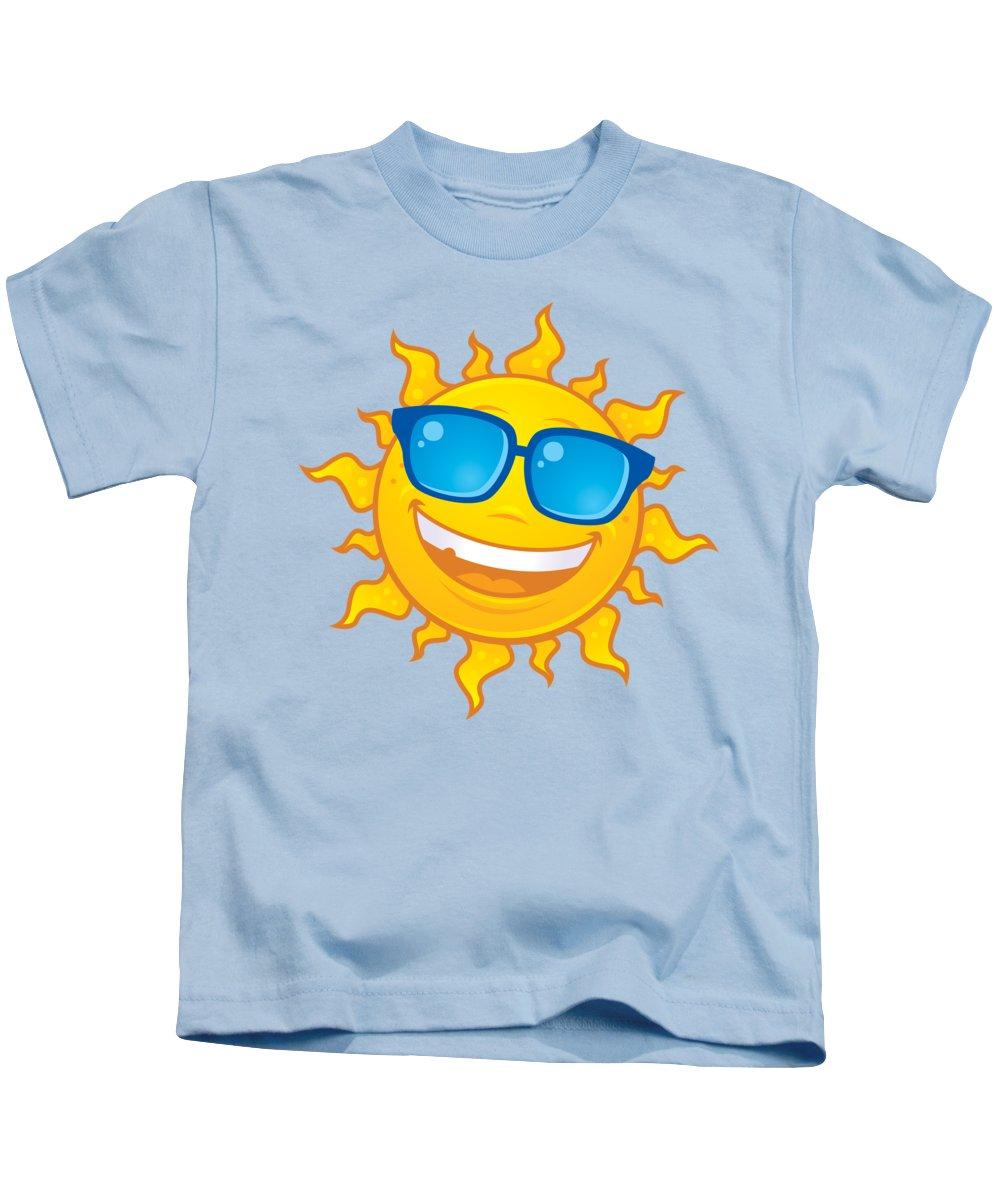 Weather Kids T-Shirt featuring the digital art Summer Sun Wearing Sunglasses by John Schwegel