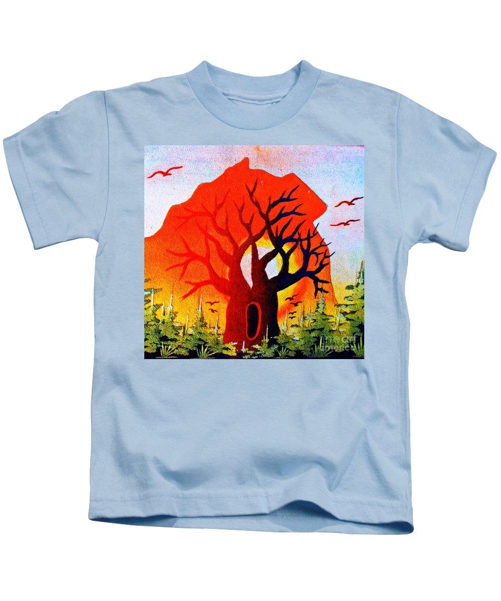 Faniasimon Kids T-Shirt featuring the mixed media Sun Down Baobab by Fania Simon