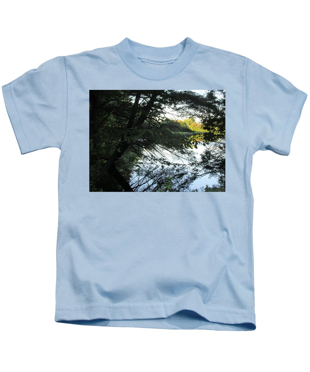 View Kids T-Shirt featuring the photograph View Of The Lake Through The Branches by Lyssjart Sj