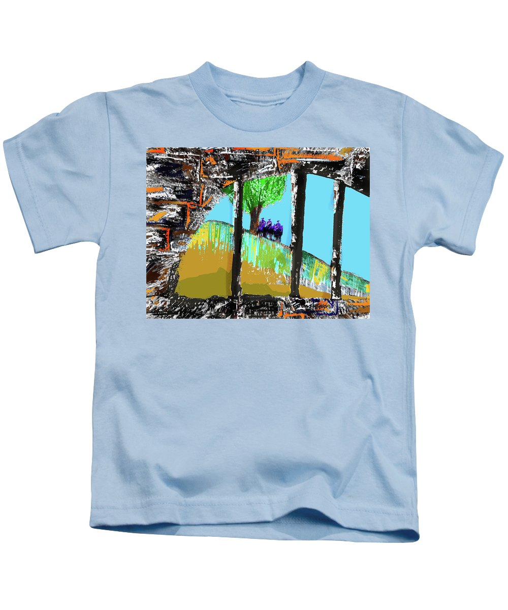 Waiting For The Noose Kids T-Shirt featuring the mixed media Waiting for the Noose by Seth Weaver