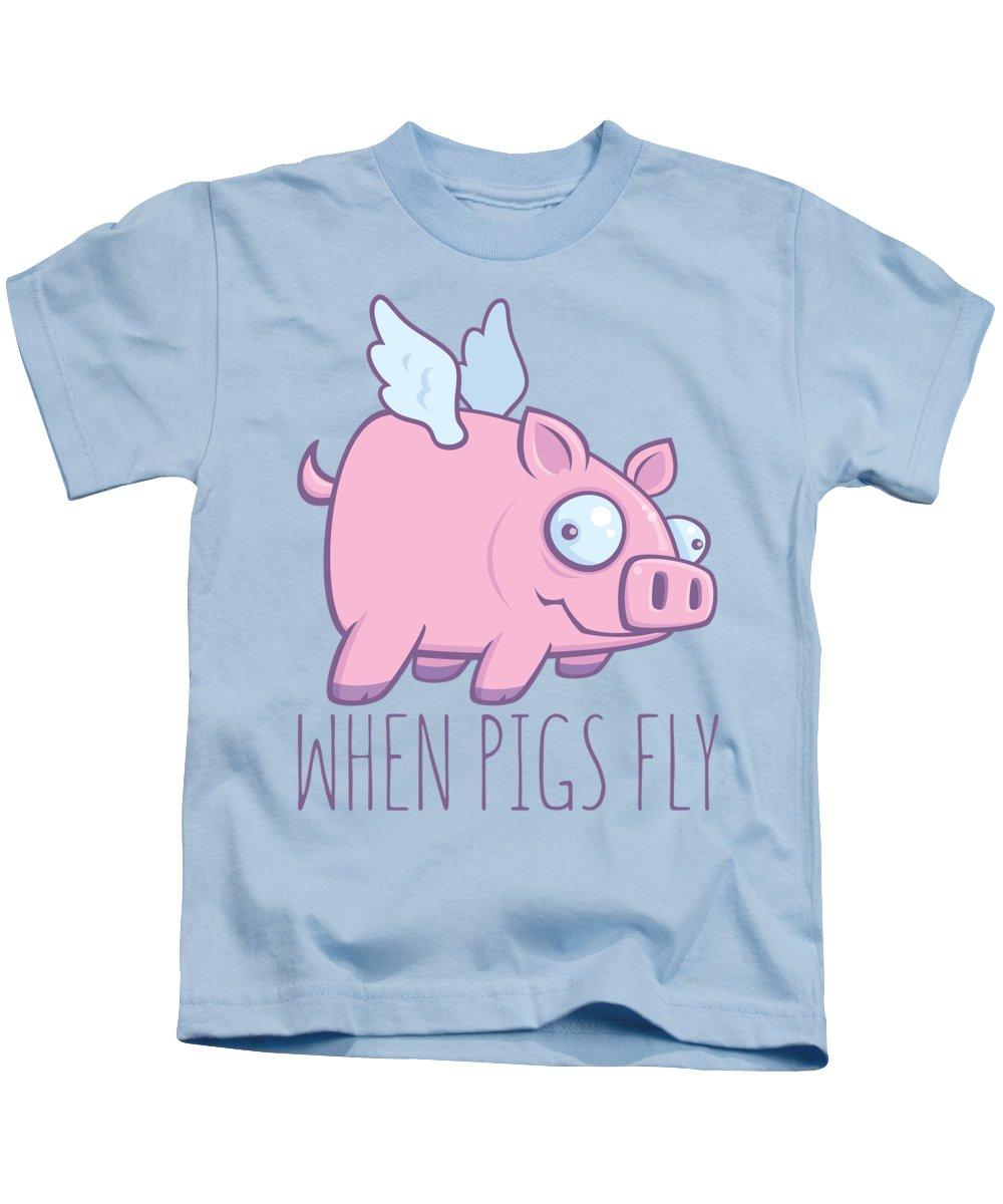 Animal Kids T-Shirt featuring the digital art When Pigs Fly with Text by John Schwegel