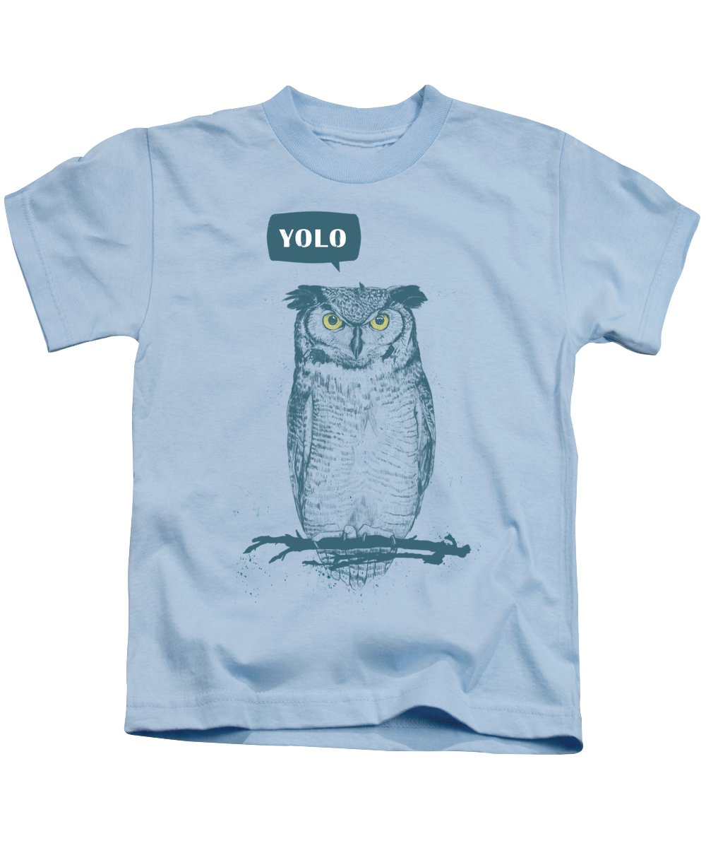 Owl Kids T-Shirt featuring the mixed media Yolo by Balazs Solti