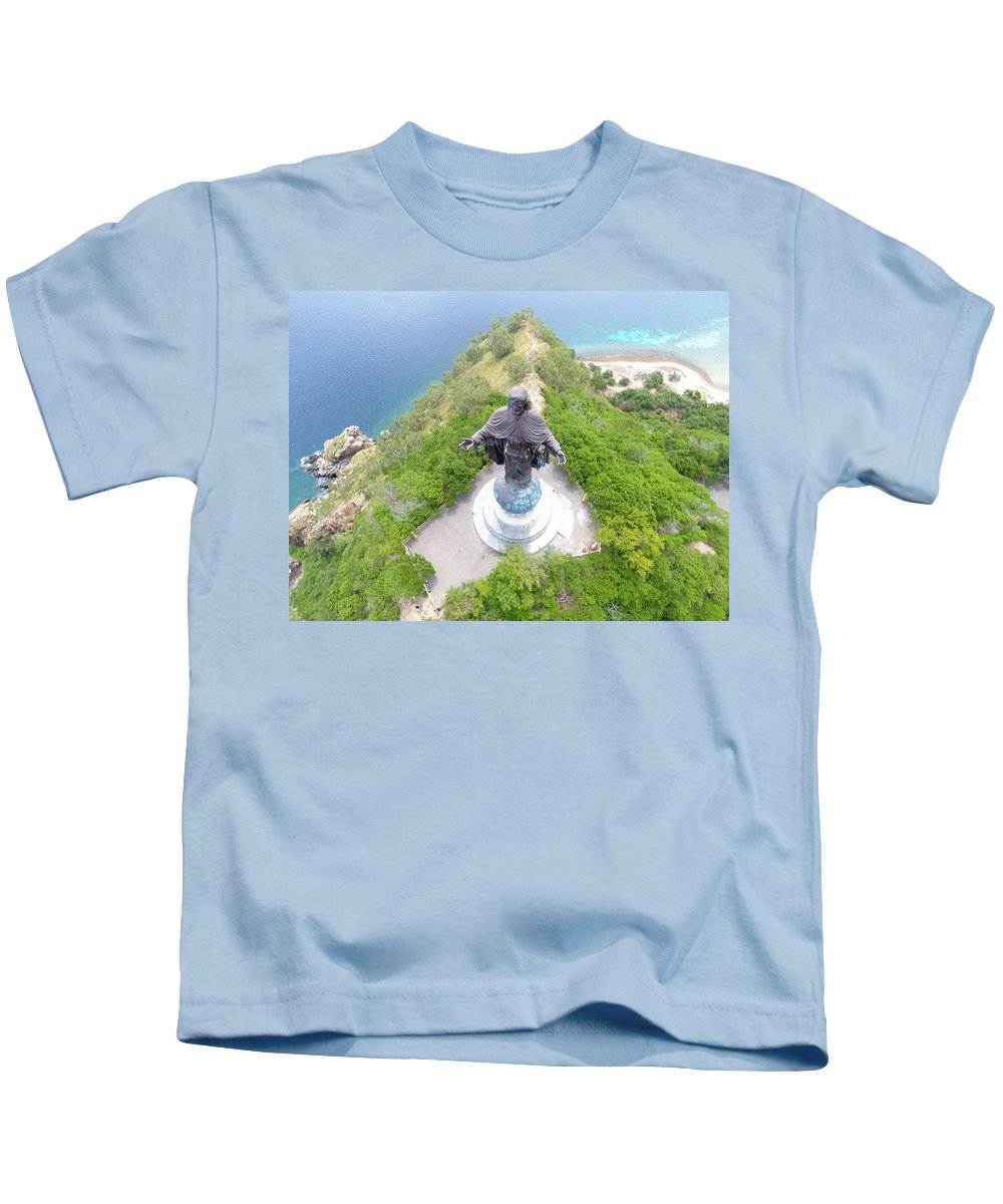 Travel Kids T-Shirt featuring the photograph Cristo Rei of Dili statue of Jesus by Brthrjhn2099