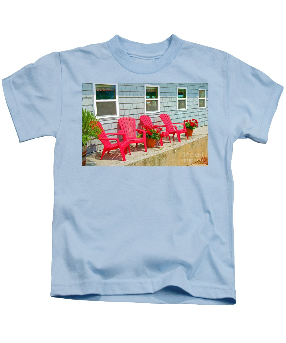 Red Kids T-Shirt featuring the photograph Red Chairs by Debbi Granruth