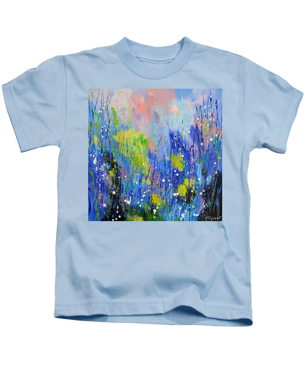 Abstract Kids T-Shirt featuring the painting Spring waters by Pol Ledent