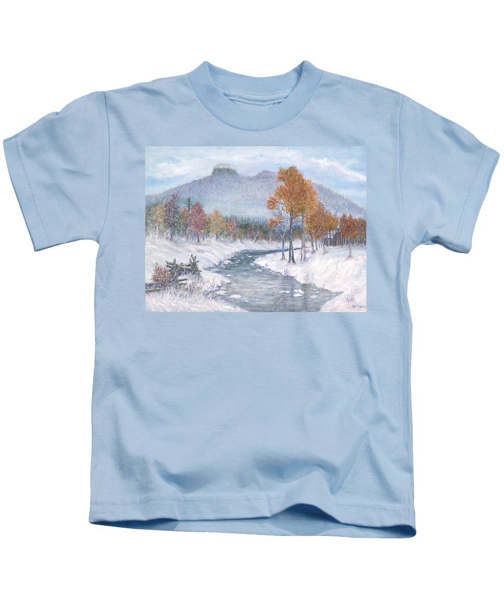 Snow Kids T-Shirt featuring the painting Autumn Snow by Ben Kiger