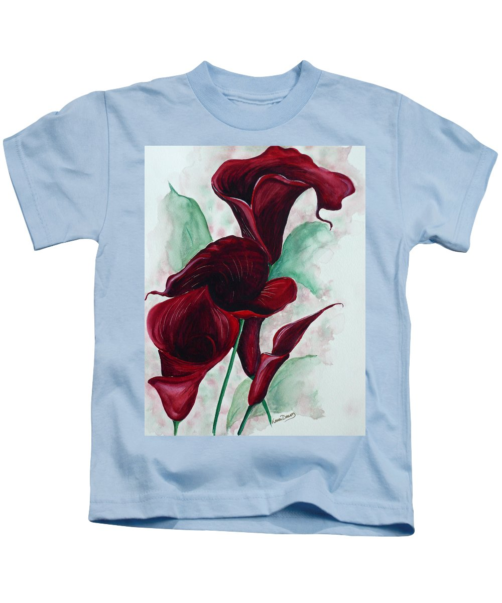 Flower Painting Floral Painting Botanical Painting Tropical Painting Caribbean Painting Calla Painting Red Lily Painting Deep Red Calla Lilies Original Watercolor Painting Kids T-Shirt featuring the painting Black Callas by Karin Dawn Kelshall- Best