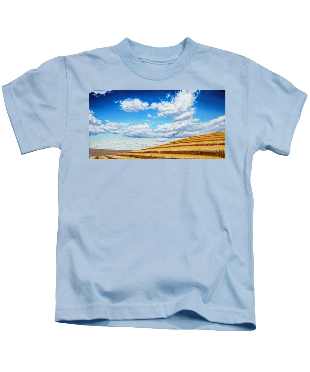 Palouse Kids T-Shirt featuring the painting Clouds on the Palouse near Moscow Idaho by Leonard Heid