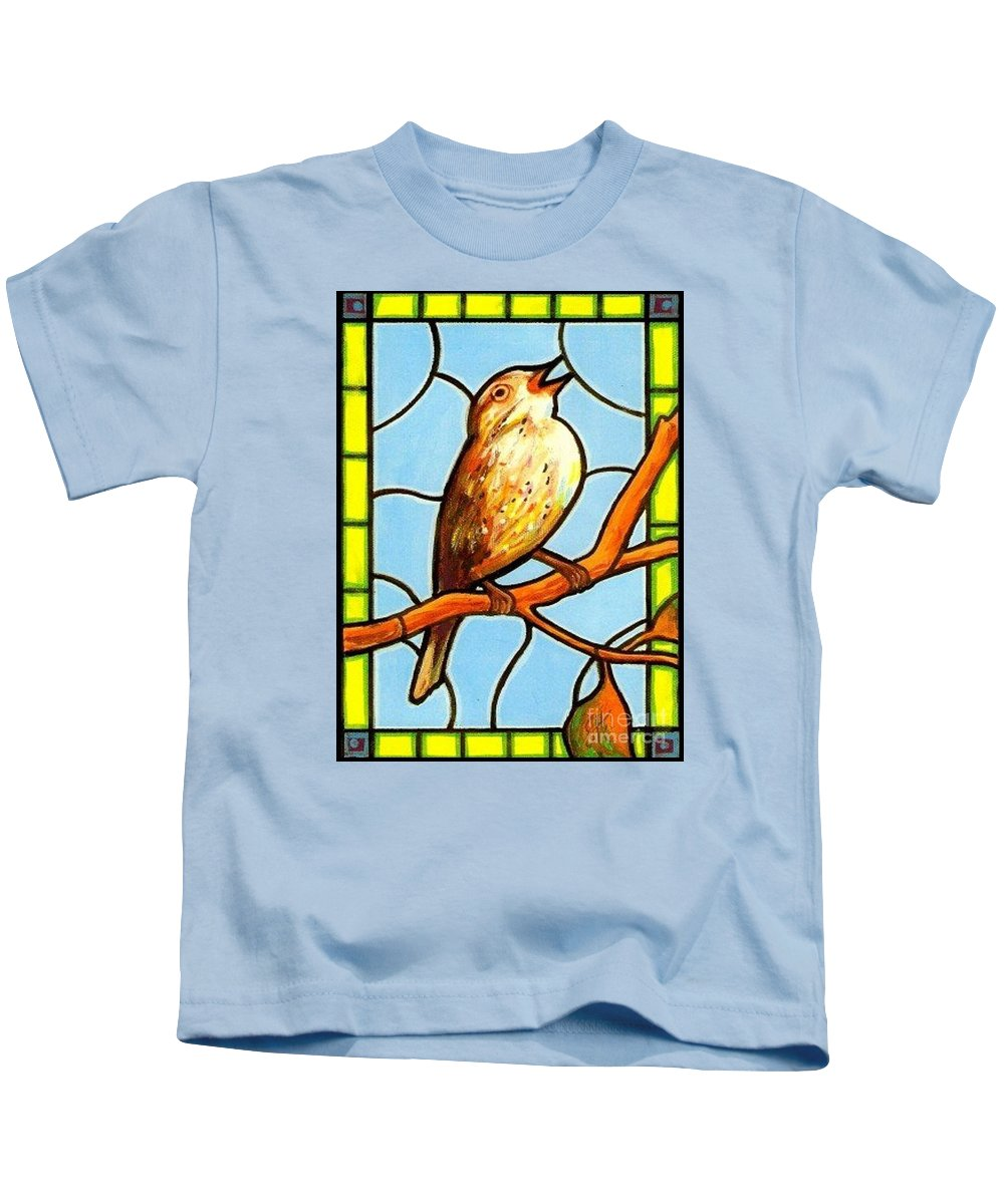 Birds Kids T-Shirt featuring the painting His Eye Is On the Sparrow by Jim Harris