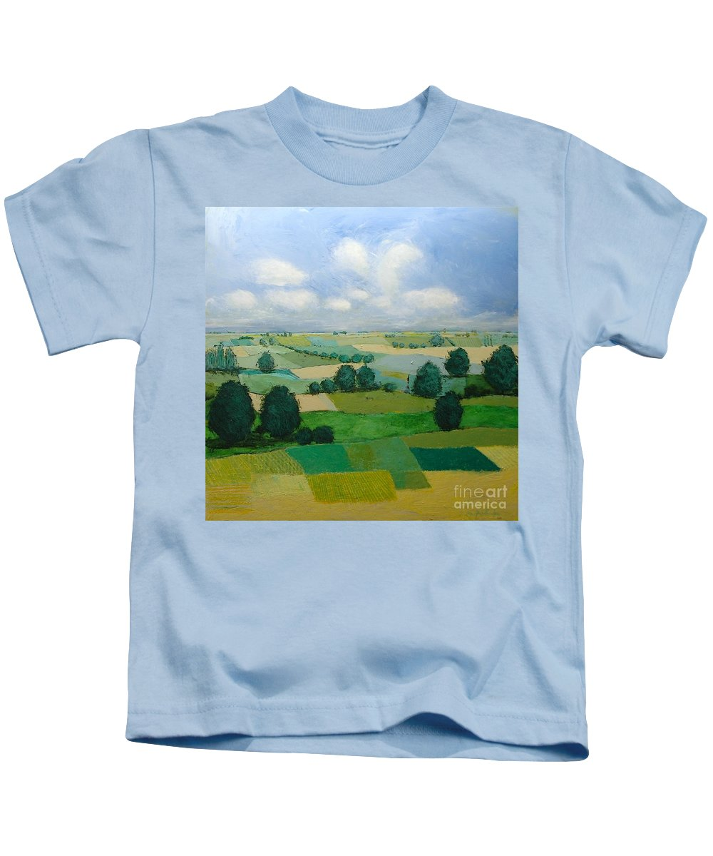 Landscape Kids T-Shirt featuring the painting Morning Calm by Allan P Friedlander