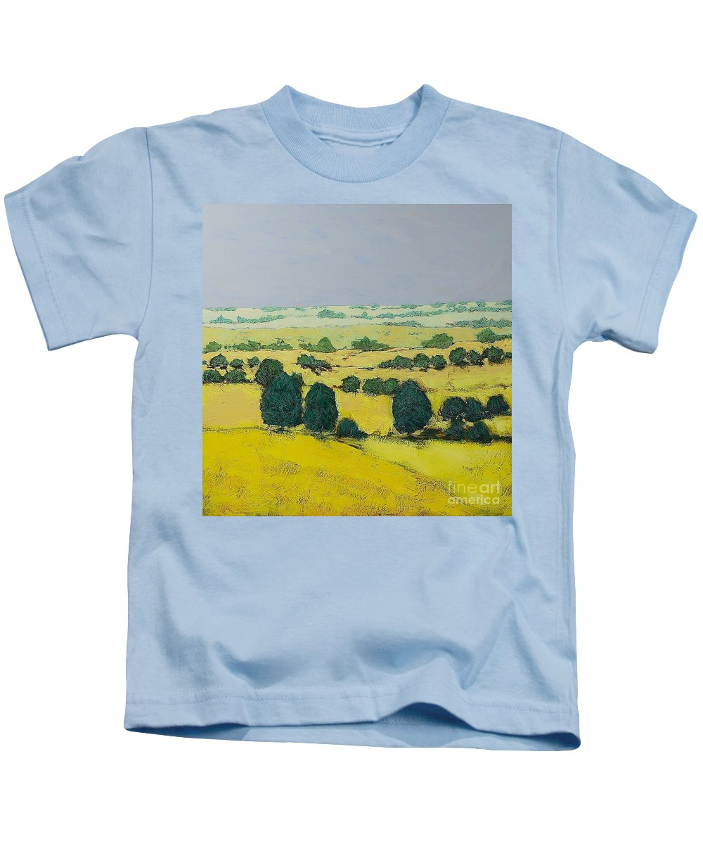 Landscape Kids T-Shirt featuring the painting Next Hill by Allan P Friedlander