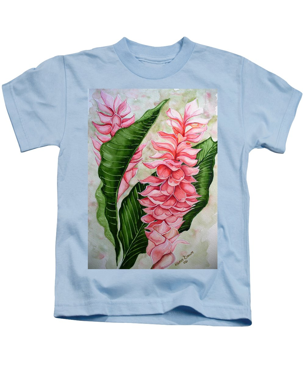 Flower Painting Floral Painting Botanical Painting Ginger Lily Painting Original Watercolor Painting Caribbean Painting Tropical Painting Kids T-Shirt featuring the painting Pink Ginger Lilies by Karin Dawn Kelshall- Best