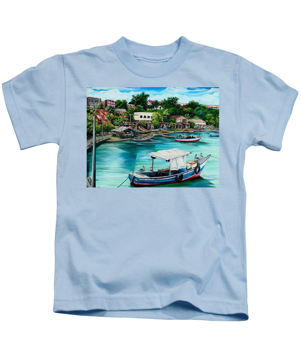 Ocean Painting Sea Scape Painting Fishing Boat Painting Fishing Village Painting Sanfernando Trinidad Painting Boats Painting Caribbean Painting Original Oil Painting Of The Main Southern Town In Trinidad  Artist Pob Kids T-Shirt featuring the painting Sanfernando Wharf by Karin Dawn Kelshall- Best