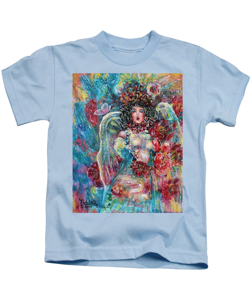 Angels Kids T-Shirt featuring the painting Secret Garden Singing Angel 8 by Natalie Holland