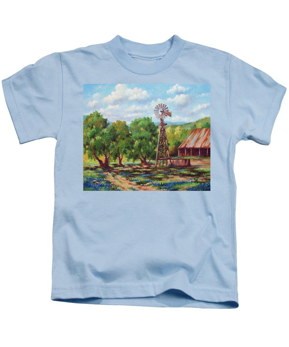 Landscape Kids T-Shirt featuring the painting Shadows In The Farmyard by David G Paul
