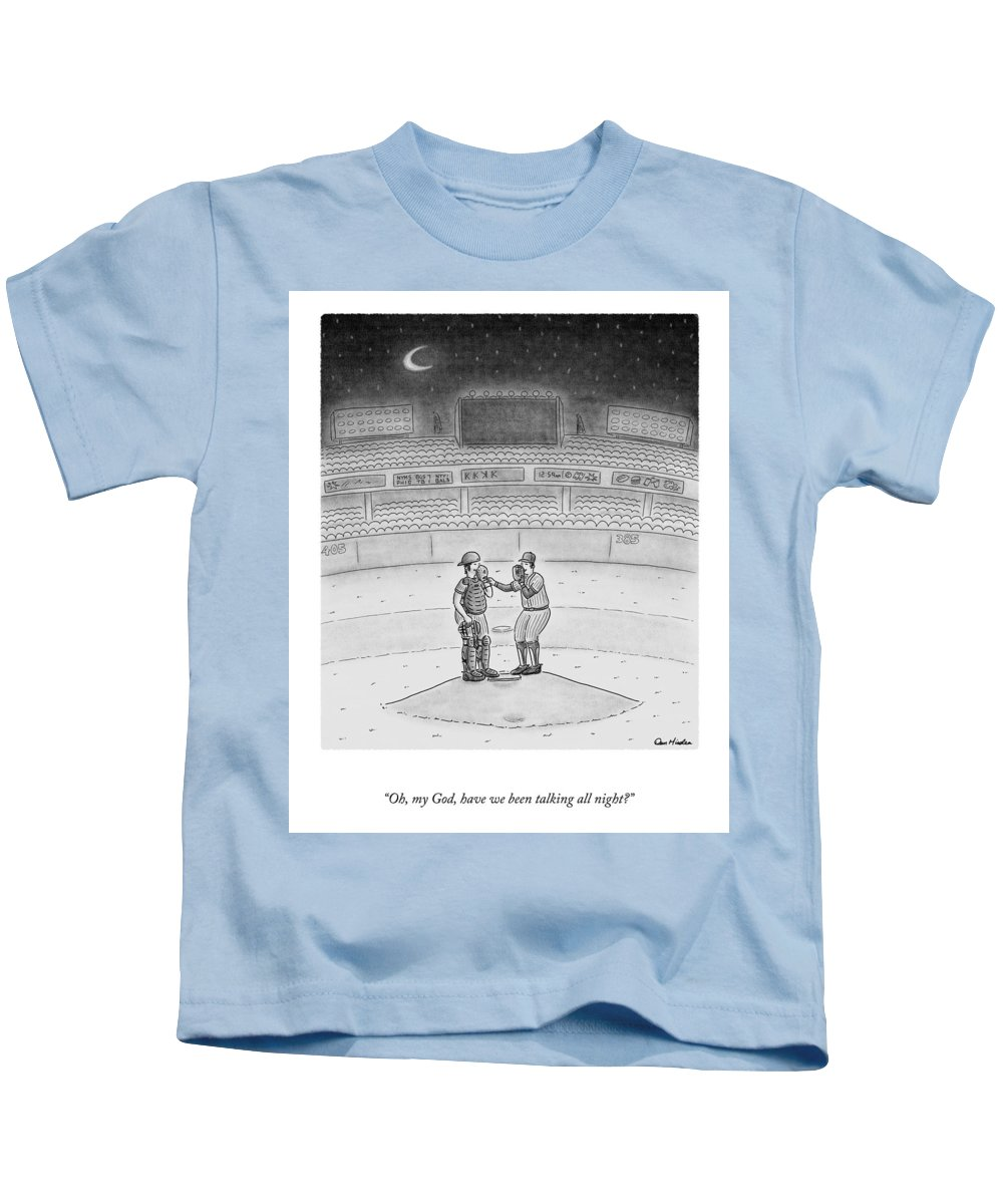 A25519 Kids T-Shirt featuring the drawing Talking All Night by Dan Misdea