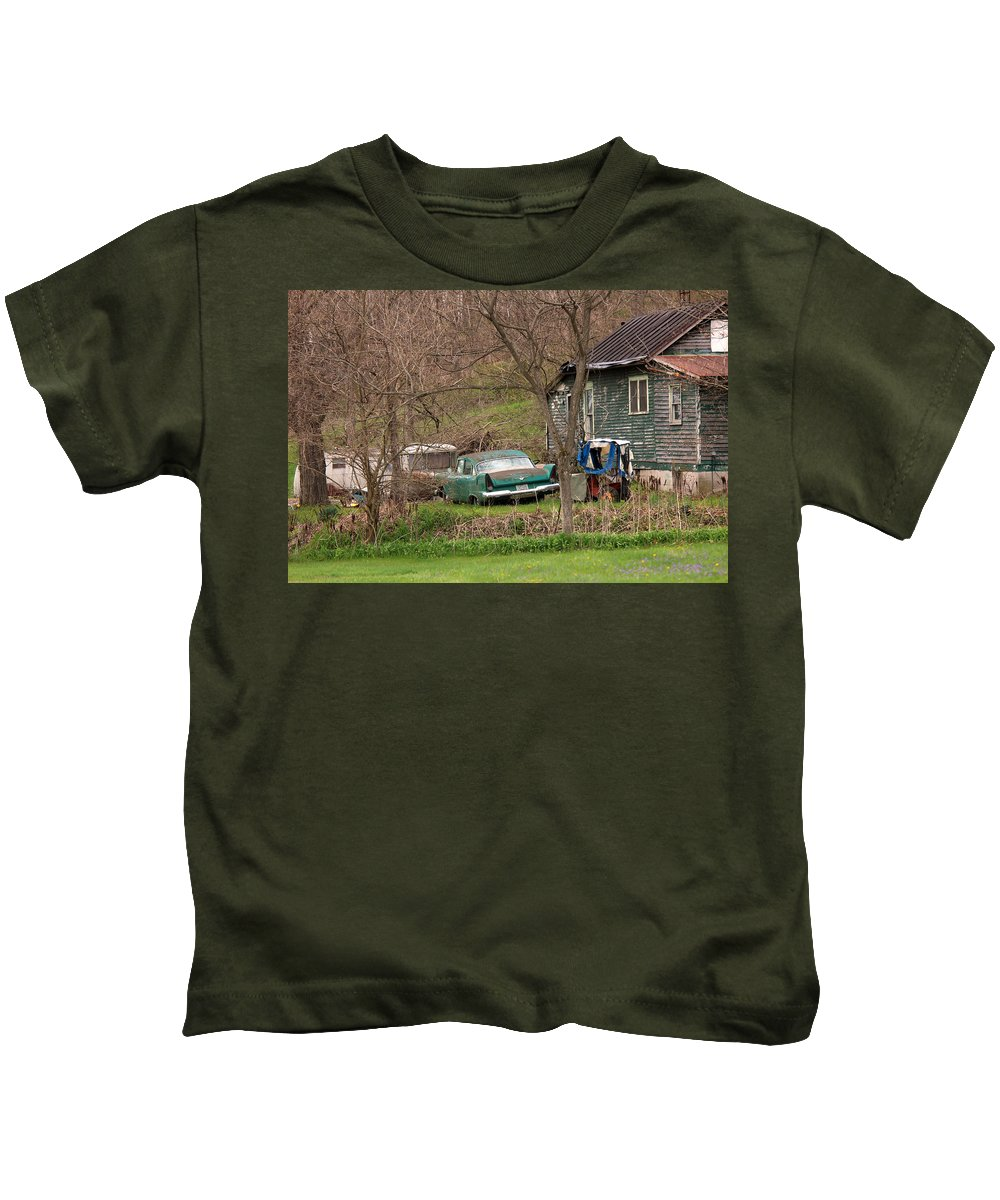 Old Car Canvas Prints Kids T-Shirt featuring the photograph     In The Ghetto by R A W M