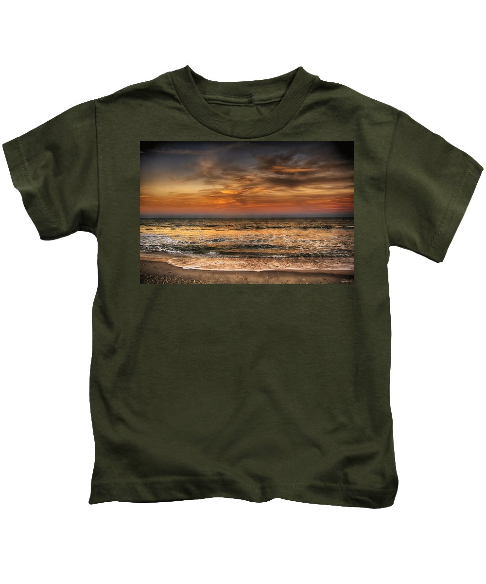 Sunset Kids T-Shirt featuring the photograph Evening At The Beach by Louise Hill