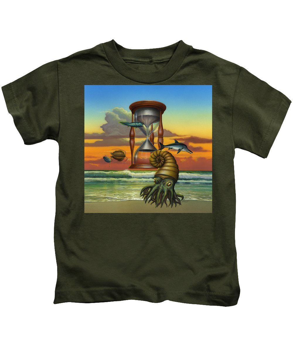 Prehistoric Animals Kids T-Shirt featuring the painting Prehistoric Animals - Beginning Of Time Beach Sunrise - Hourglass - Sea Creatures Square Format by Walt Curlee