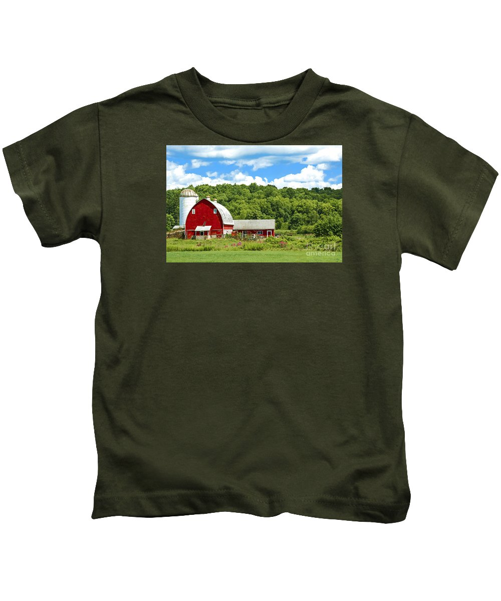 Red Barn Kids T-Shirt featuring the photograph Red Farmstead In Summer by Regina Geoghan