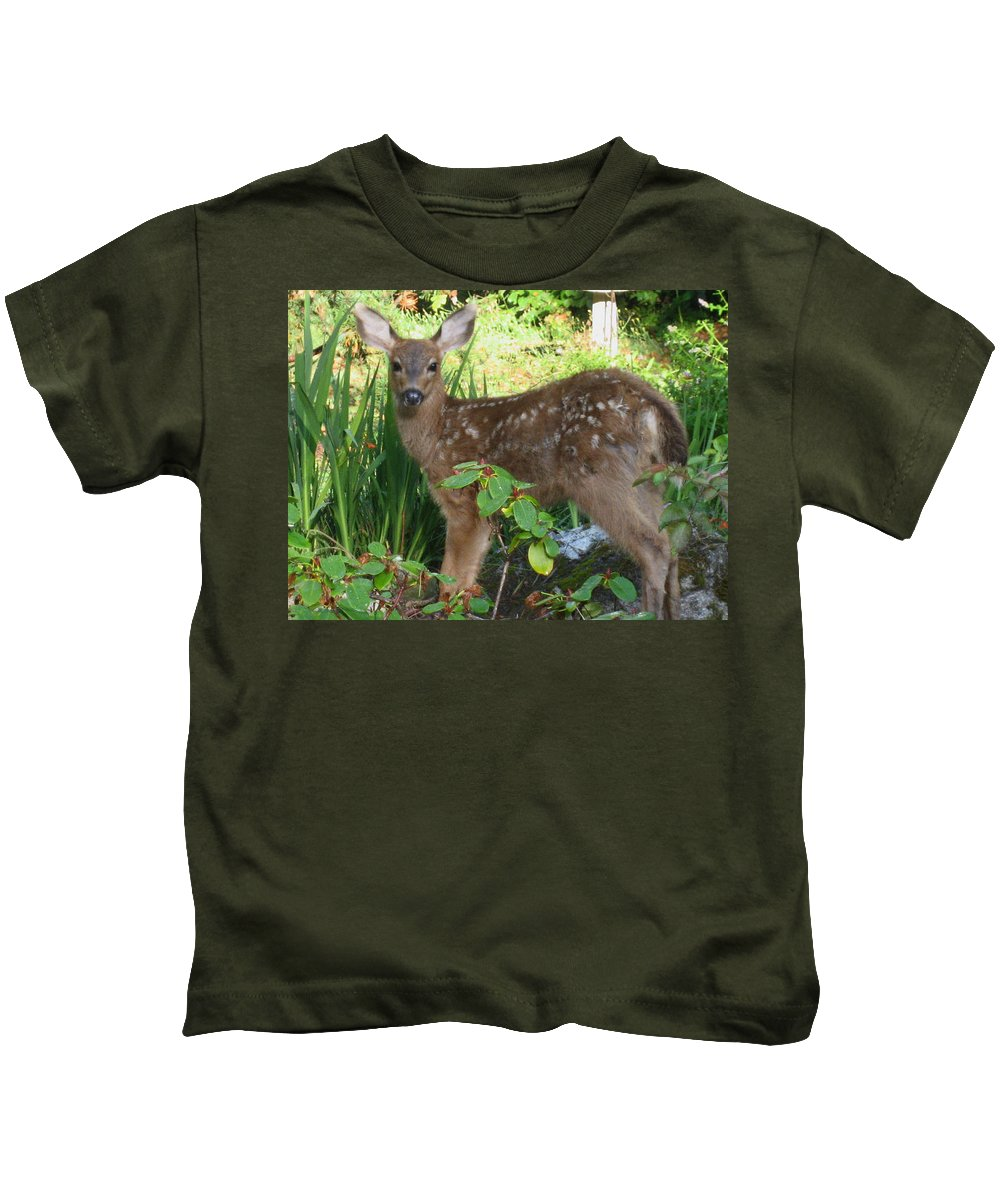 Animals Kids T-Shirt featuring the photograph Young Fawn In The Grass by Kym Backland