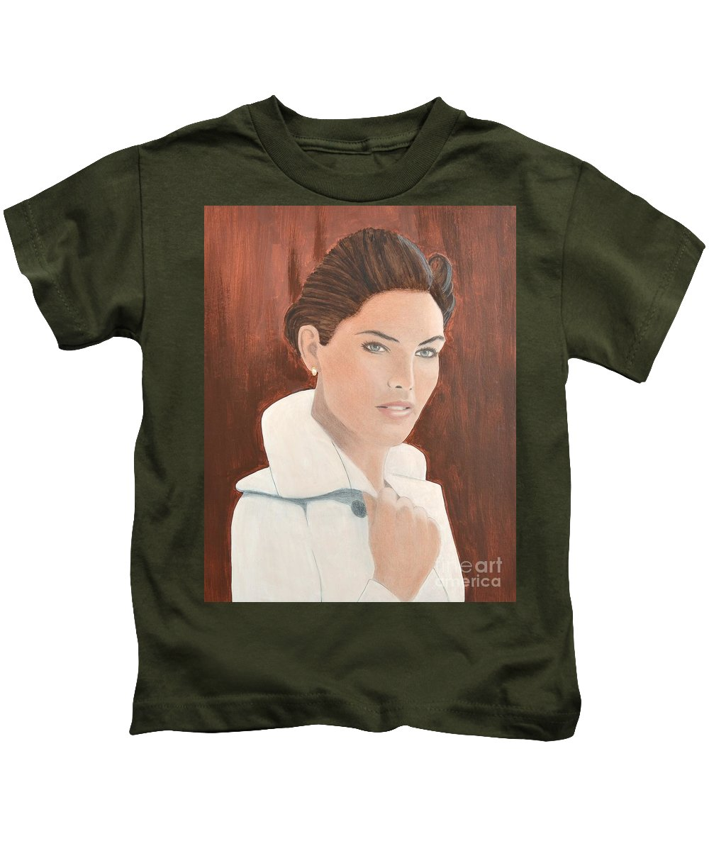 Troni Kids T-Shirt featuring the painting 0004 Tanya by John Grieder
