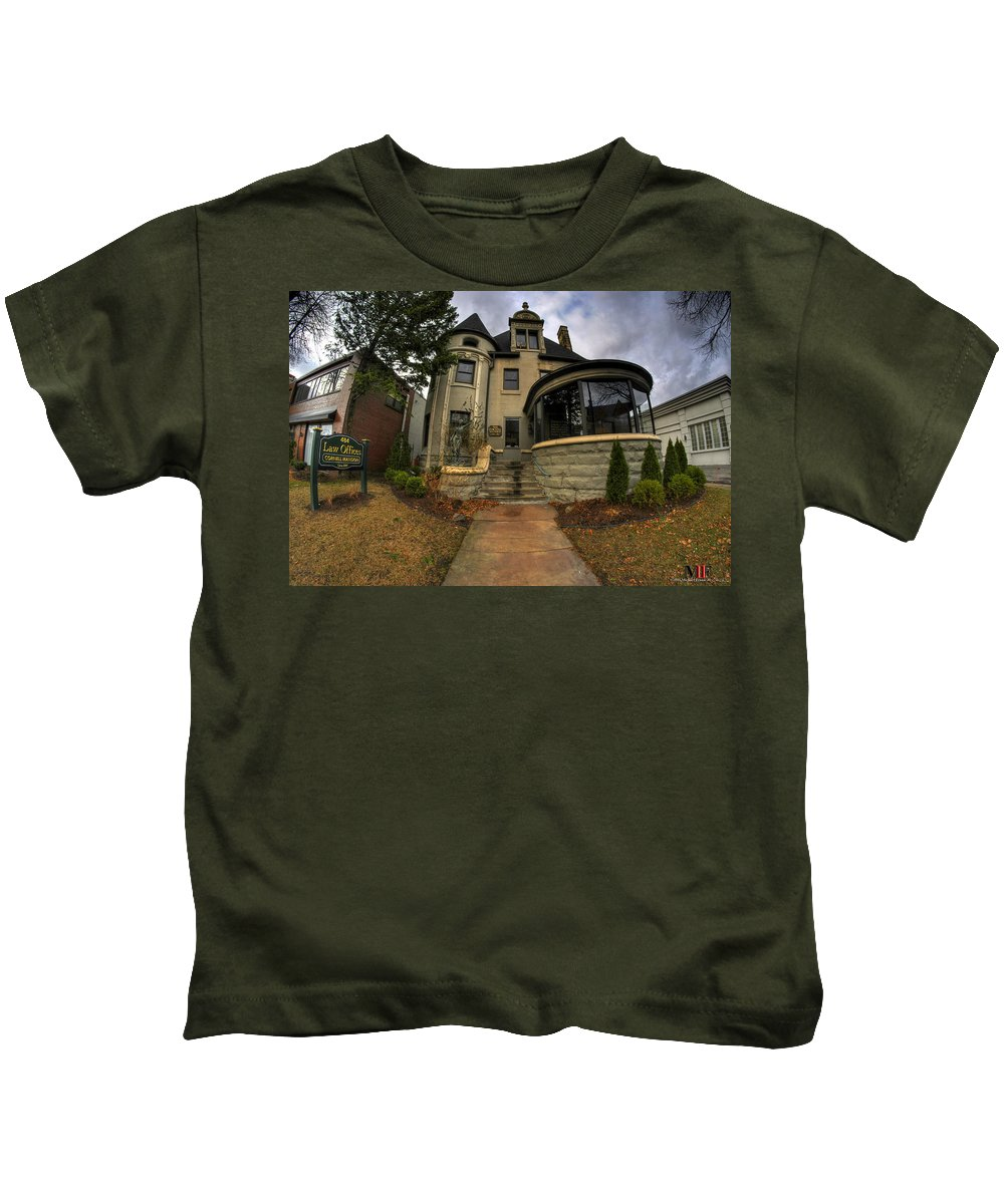 Michael Frank Jr Kids T-Shirt featuring the photograph 009 Law Offices Cornell Mansion by Michael Frank Jr