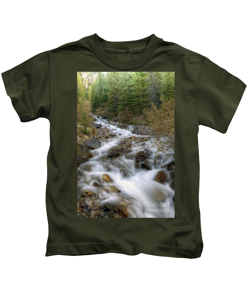 Falls Kids T-Shirt featuring the photograph 0192 Glacial Runoff by Steve Sturgill