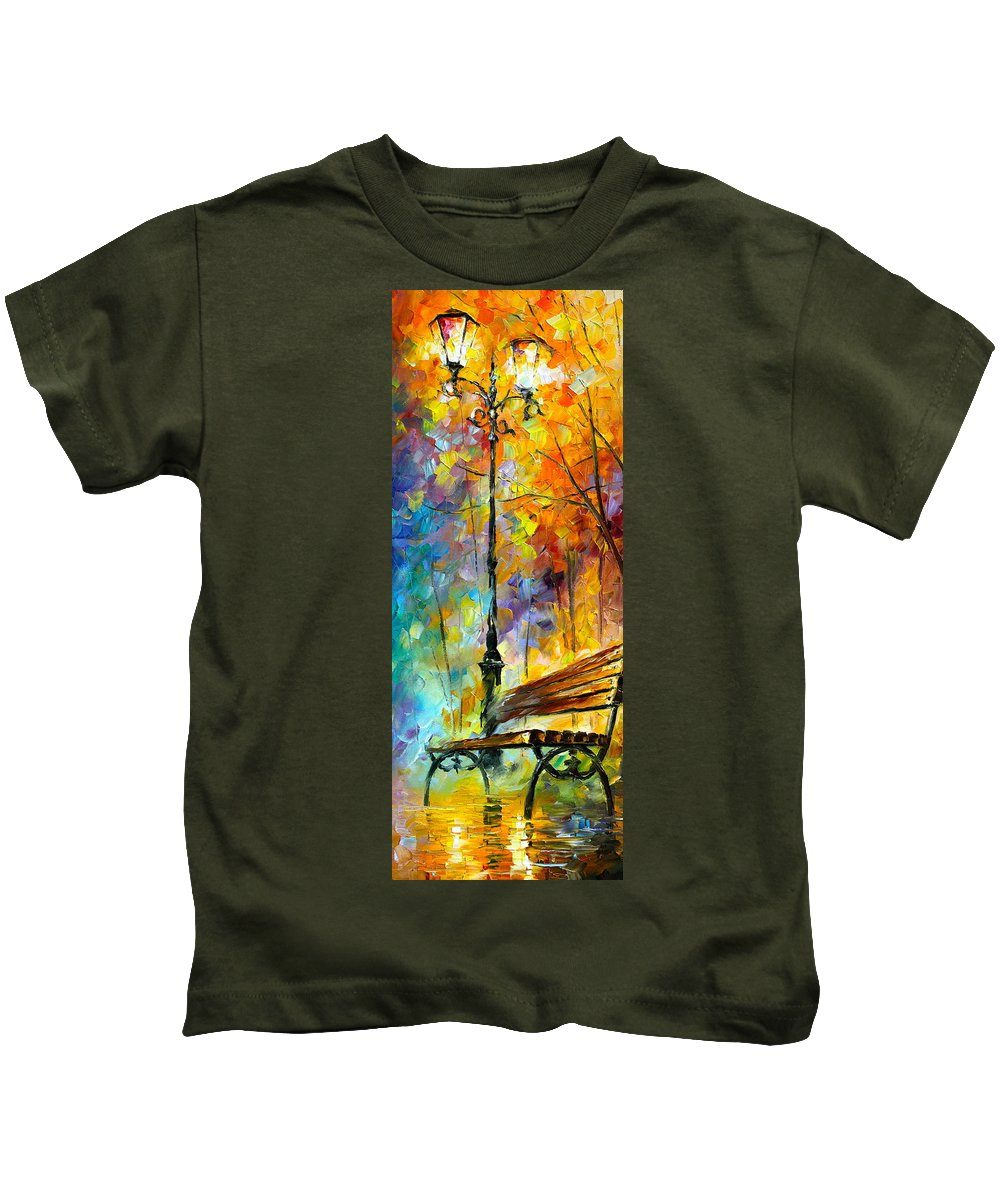 Afremov Kids T-Shirt featuring the painting Aura Of Autumn 2 by Leonid Afremov