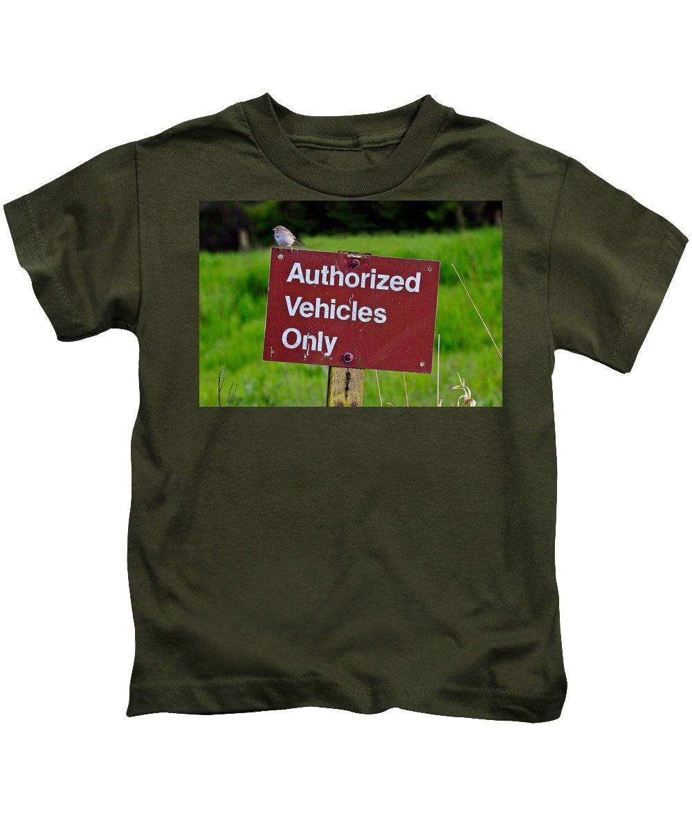 Vehicles Only Kids T-Shirt featuring the photograph Authorized Vehicles Only by Athena Mckinzie