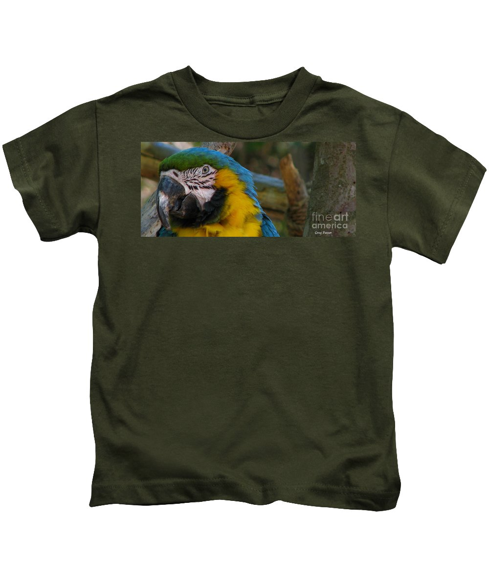 Patzer Kids T-Shirt featuring the photograph Blue And Gold by Greg Patzer