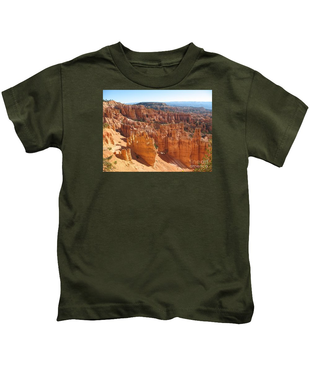 Canyon Kids T-Shirt featuring the photograph Bryce Canyon Hoodoos And Fins by Christiane Schulze Art And Photography