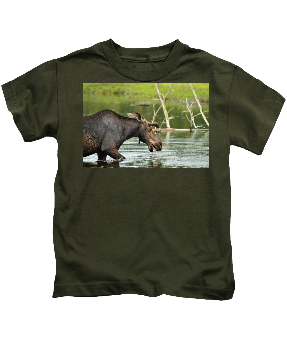 Alces Alces Kids T-Shirt featuring the photograph Bull Moose by Joshua McCullough