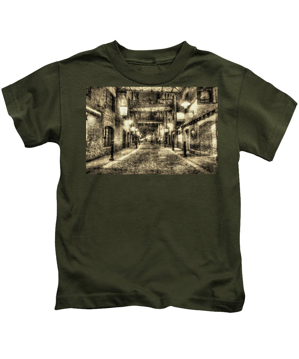 Vintage Kids T-Shirt featuring the photograph Butlers Wharf London Vintage by David Pyatt