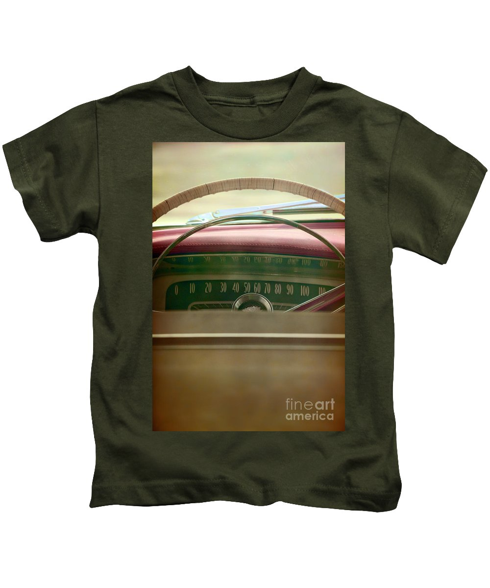 Steering Wheel; Old; Leather; Car; Vintage; Auto; Automobile; Detail; Green; Red; Tan; Vehicle; Antique; Transportation; Parked; Window; Dashboard; Speed; Chevy; Chevrolet; Wipers; Gauge Kids T-Shirt featuring the photograph Drive by Margie Hurwich